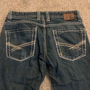 Men's dark wash Buckle jeans